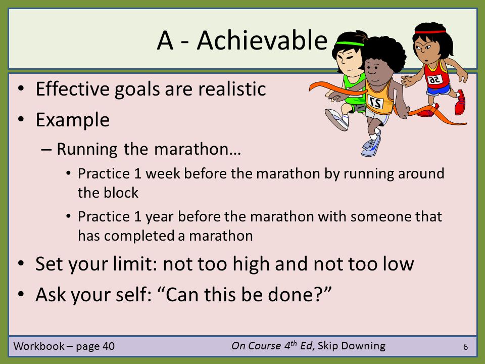 A - Achievable Effective goals are realistic Example