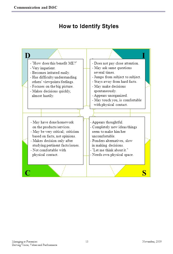D I C S How to Identify Styles Communication and DiSC -