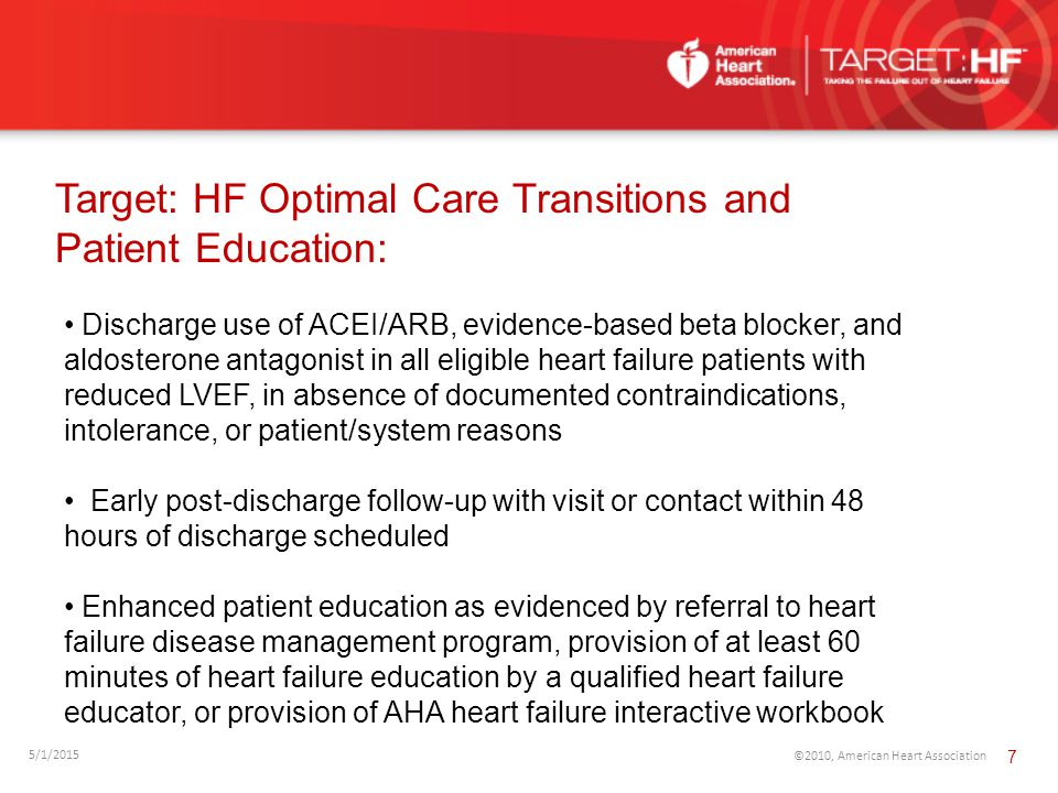 Target: HF Optimal Care Transitions and Patient Education: