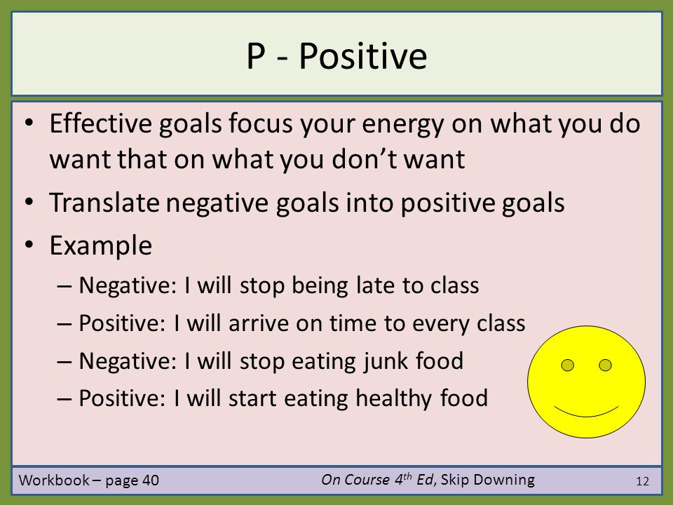 P - Positive Effective goals focus your energy on what you do want that on what you don't want. Translate negative goals into positive goals.