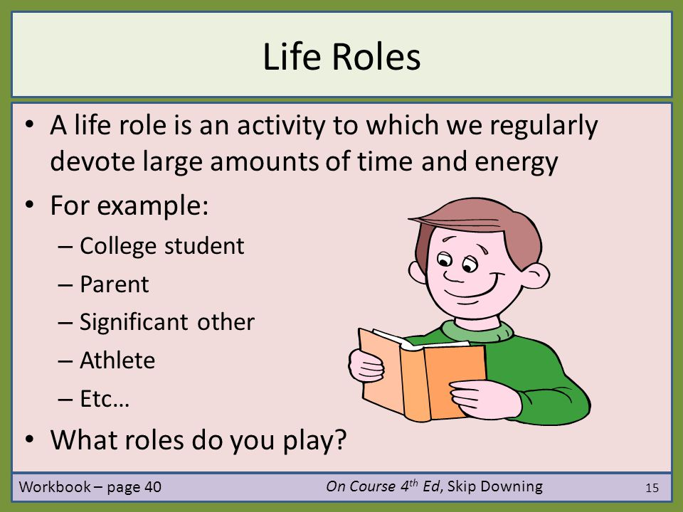 Life Roles A life role is an activity to which we regularly devote large amounts of time and energy.