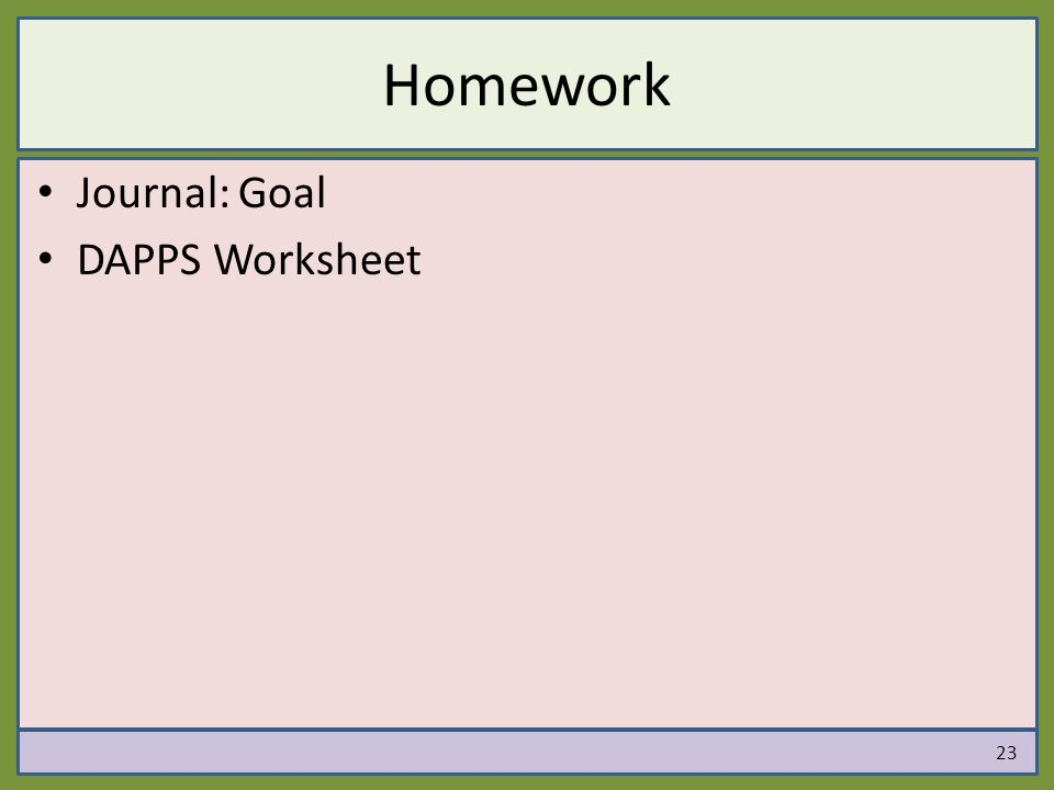 Homework Journal: Goal DAPPS Worksheet