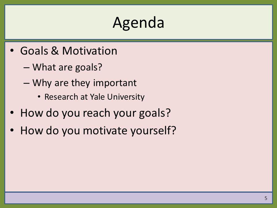 Agenda Goals & Motivation How do you reach your goals