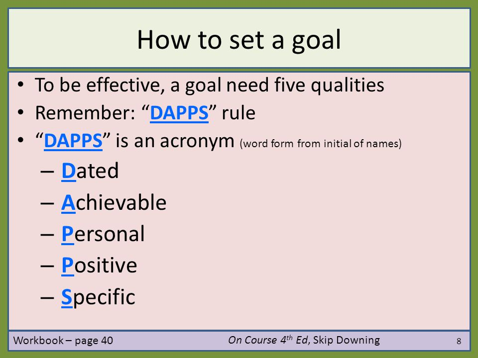 How to set a goal Dated Achievable Personal Positive Specific