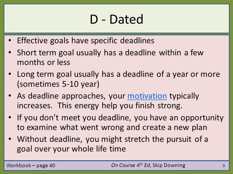 D - Dated Effective goals have specific deadlines
