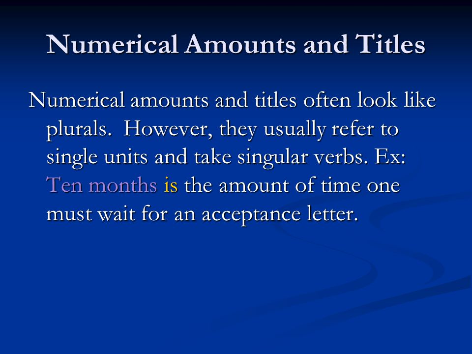 Numerical Amounts and Titles