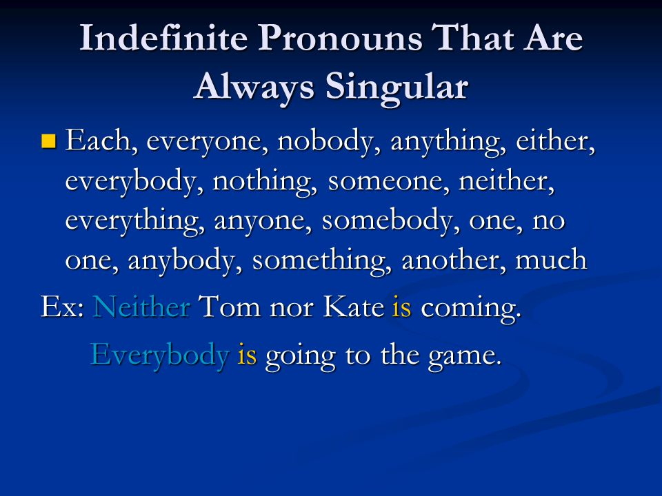Indefinite Pronouns That Are Always Singular
