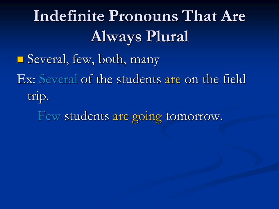 Indefinite Pronouns That Are Always Plural