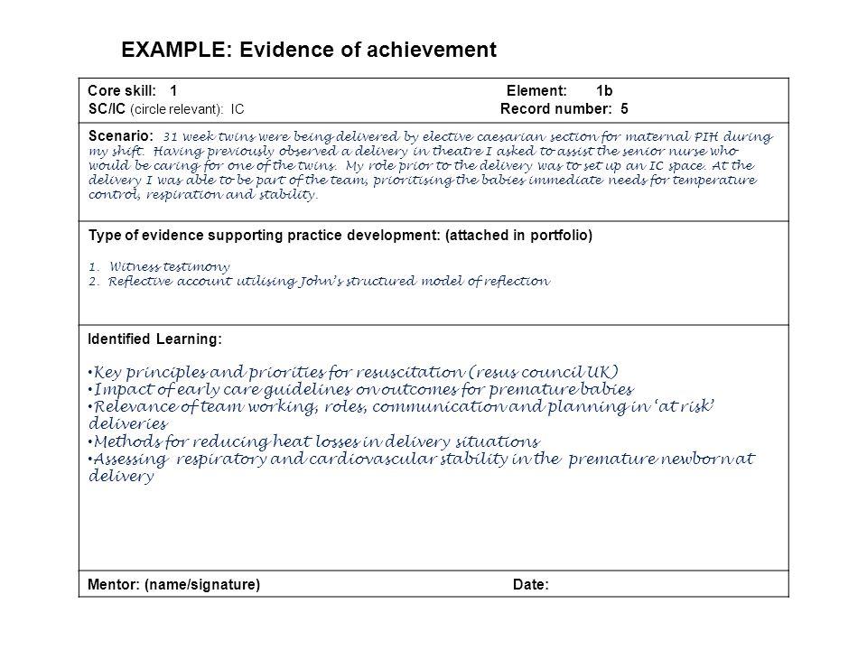 EXAMPLE: Evidence of achievement