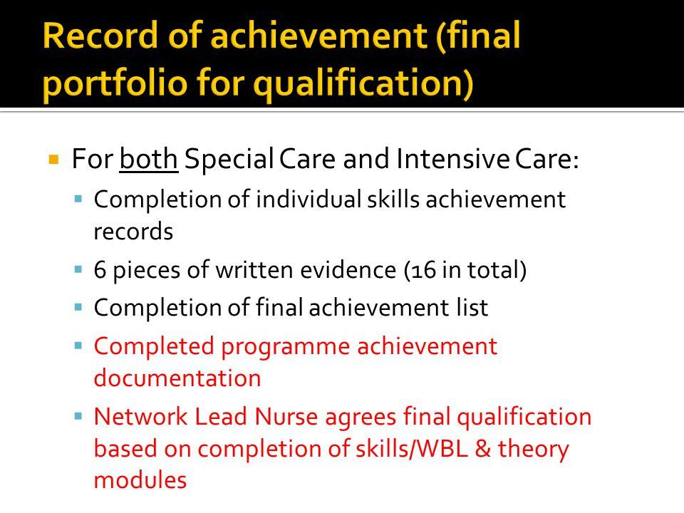 Record of achievement (final portfolio for qualification)