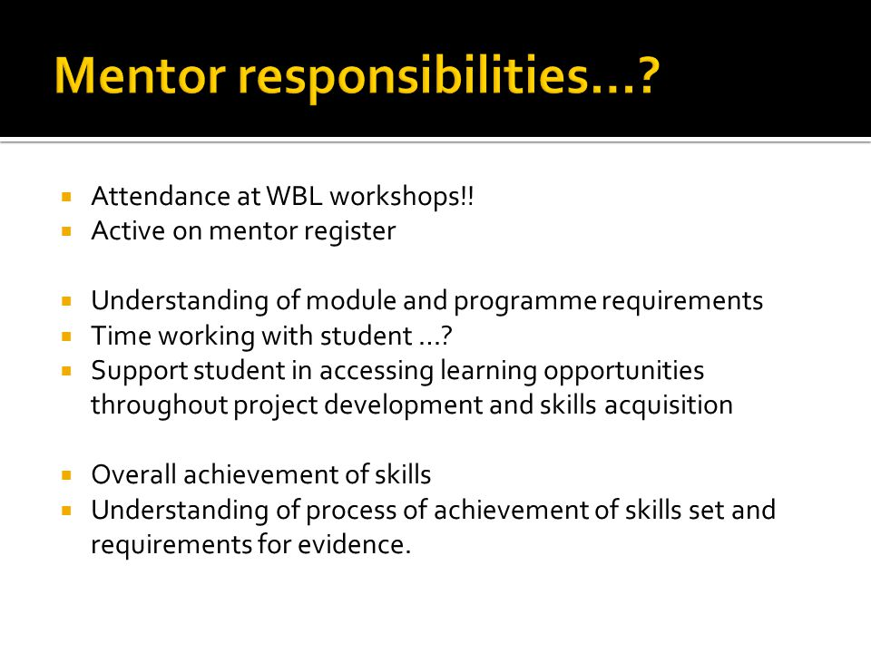 Mentor responsibilities…