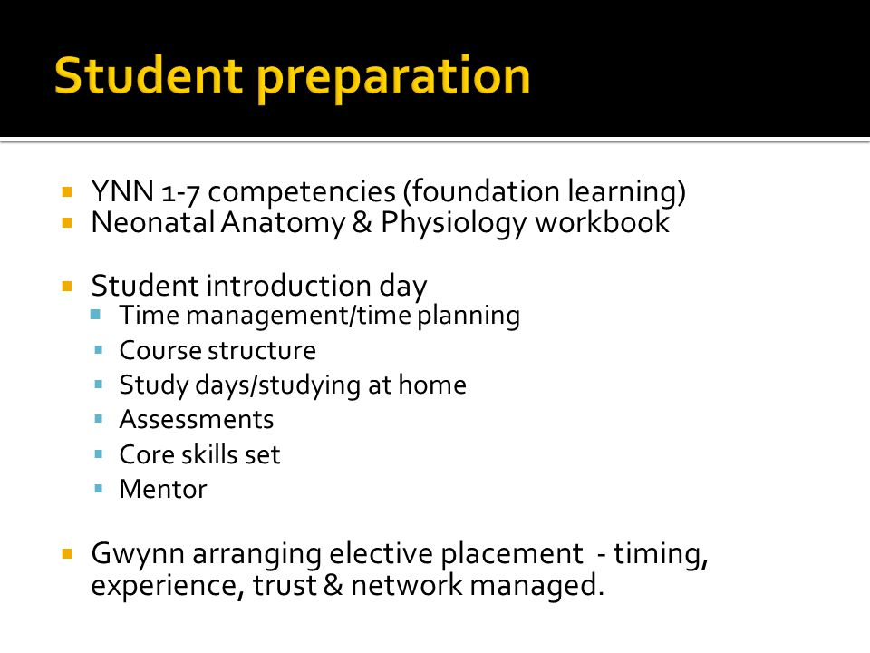 Student preparation YNN 1-7 competencies (foundation learning)