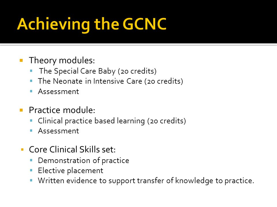 Achieving the GCNC Theory modules: Practice module:
