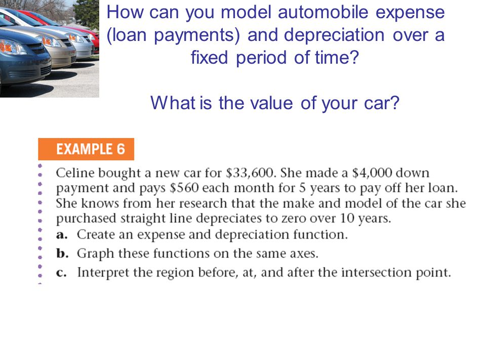 How can you model automobile expense (loan payments) and depreciation over a fixed period of time What is the value of your car