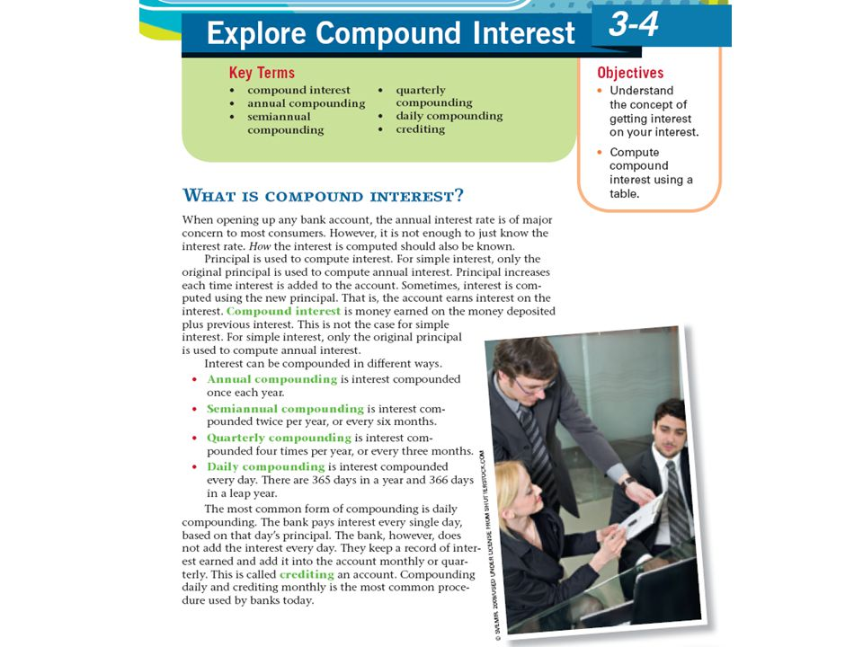 The next example is from section 3. 4 on Compound interest