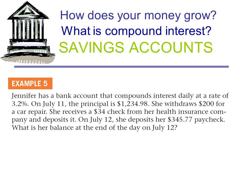 How does your money grow What is compound interest SAVINGS ACCOUNTS