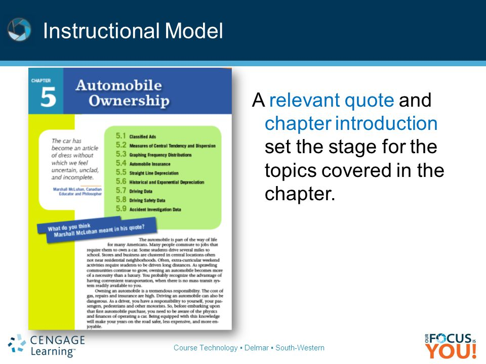 Instructional Model A relevant quote and chapter introduction set the stage for the topics covered in the chapter.