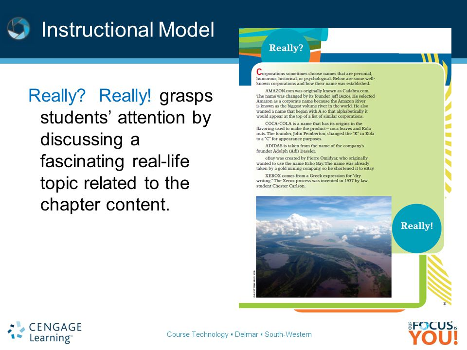 Instructional Model Really Really! grasps students' attention by discussing a fascinating real-life topic related to the chapter content.