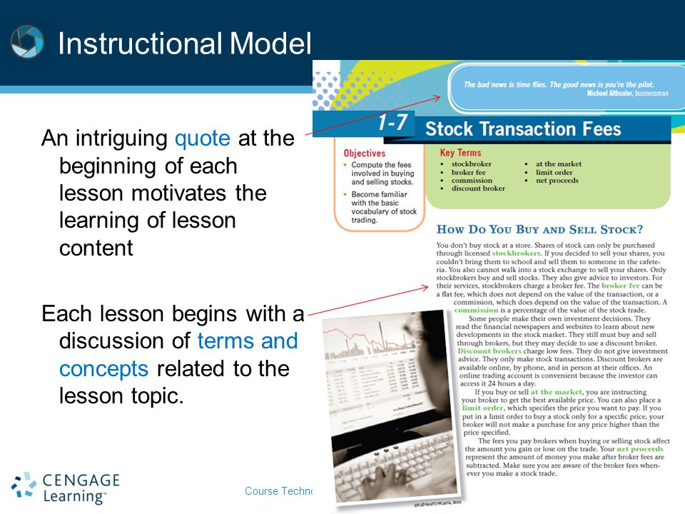 Instructional Model An intriguing quote at the beginning of each lesson motivates the learning of lesson content.
