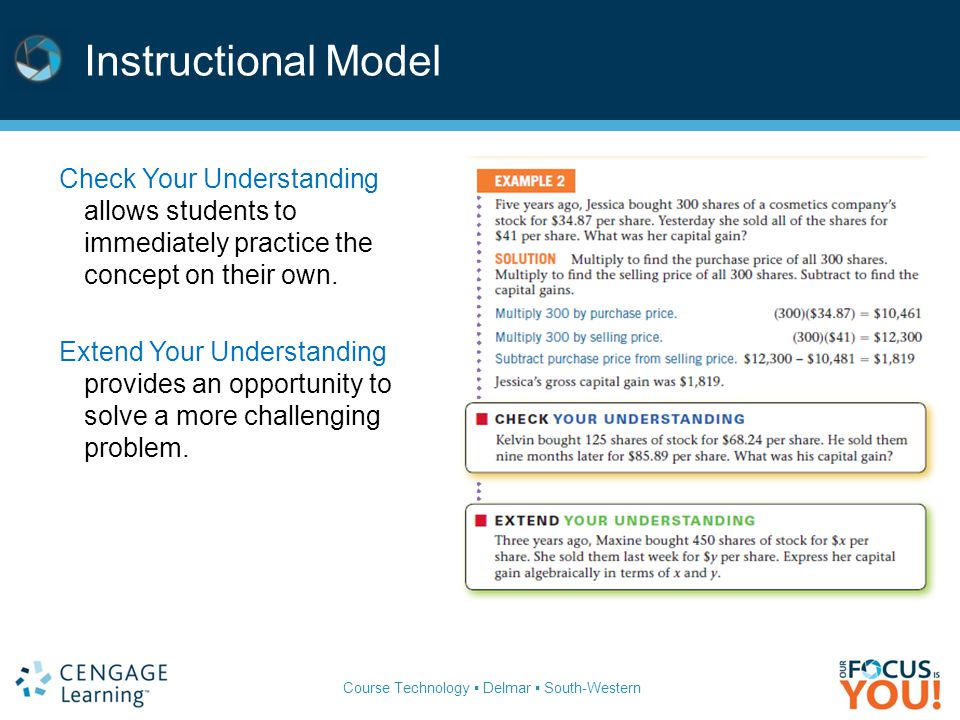 Instructional Model Check Your Understanding allows students to immediately practice the concept on their own.