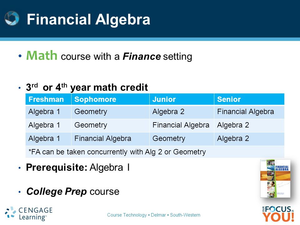 Financial Algebra Math course with a Finance setting