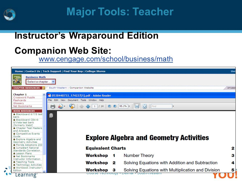 Major Tools: Teacher Instructor's Wraparound Edition Companion Web Site: www.cengage.com/school/business/math