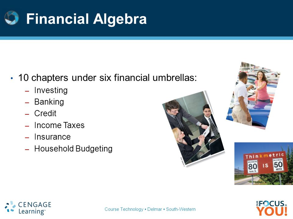 Financial Algebra 10 chapters under six financial umbrellas: Investing