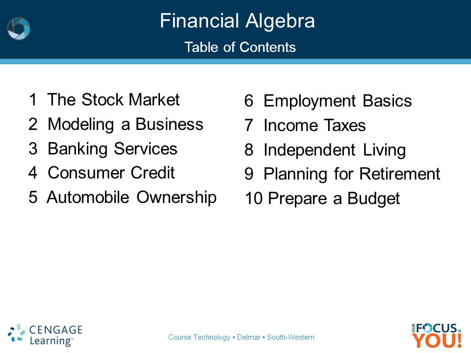 Financial Algebra Table of Contents
