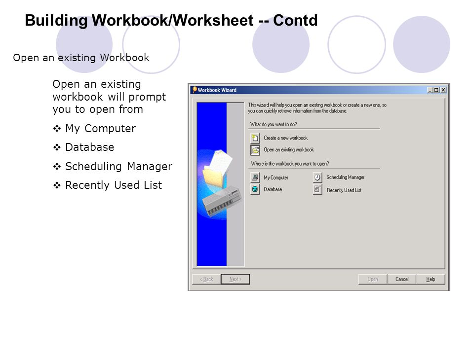 Building Workbook/Worksheet -- Contd
