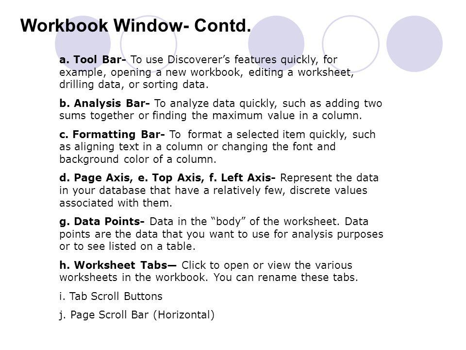 Workbook Window- Contd.