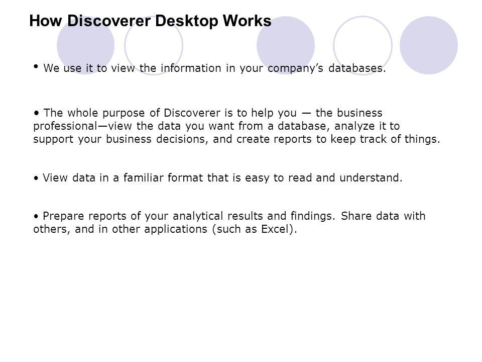 How Discoverer Desktop Works