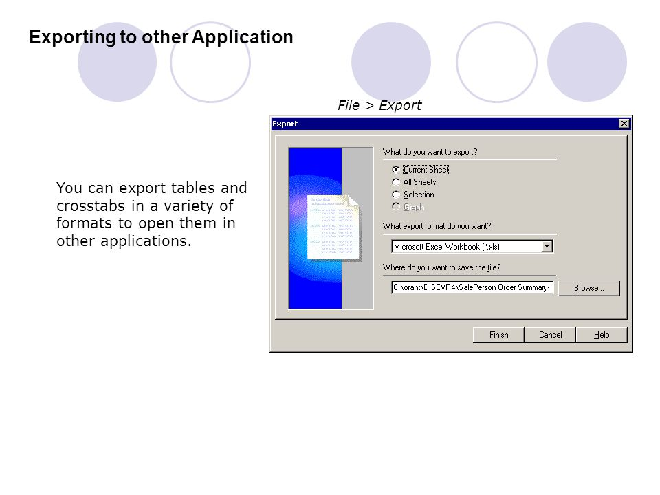 Exporting to other Application