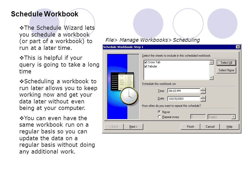 Schedule Workbook The Schedule Wizard lets you schedule a workbook (or part of a workbook) to run at a later time.