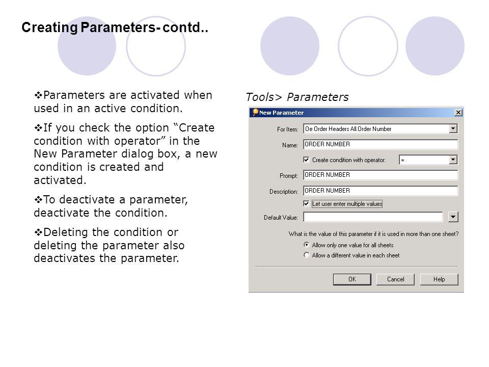 Creating Parameters- contd..