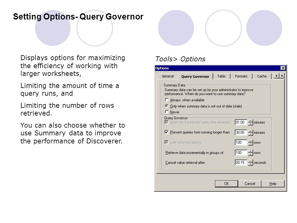 Setting Options- Query Governor