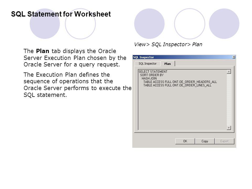 SQL Statement for Worksheet