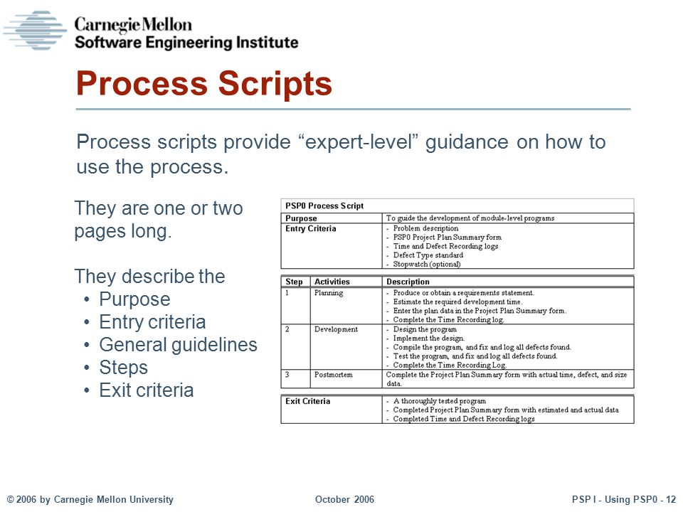 Process Scripts Process scripts provide expert-level guidance on how to use the process. They are one or two pages long.