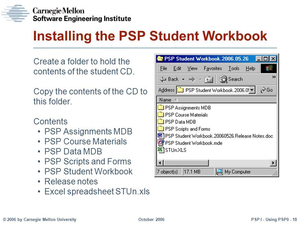 Installing the PSP Student Workbook