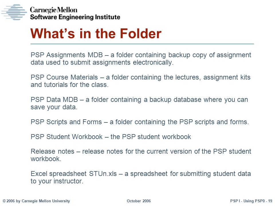 What's in the Folder PSP Assignments MDB – a folder containing backup copy of assignment data used to submit assignments electronically.