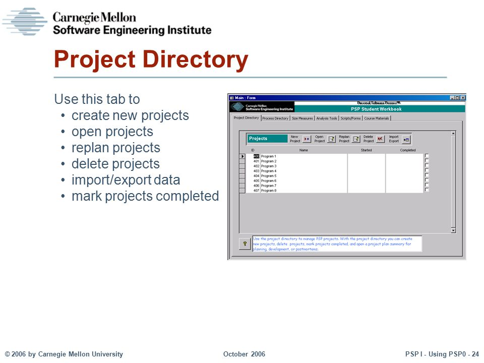 Project Directory Use this tab to create new projects open projects