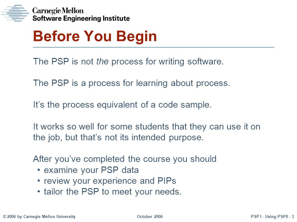 Before You Begin The PSP is not the process for writing software.