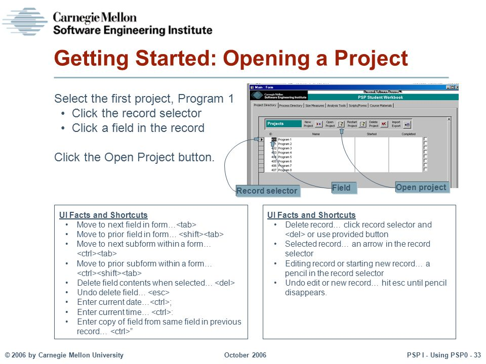 Getting Started: Opening a Project
