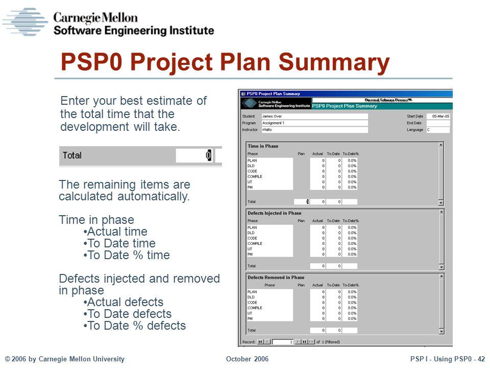 PSP0 Project Plan Summary