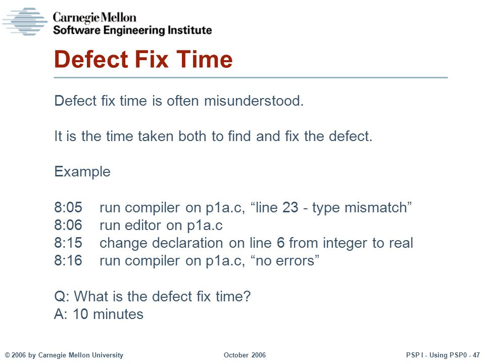 Defect Fix Time Defect fix time is often misunderstood.