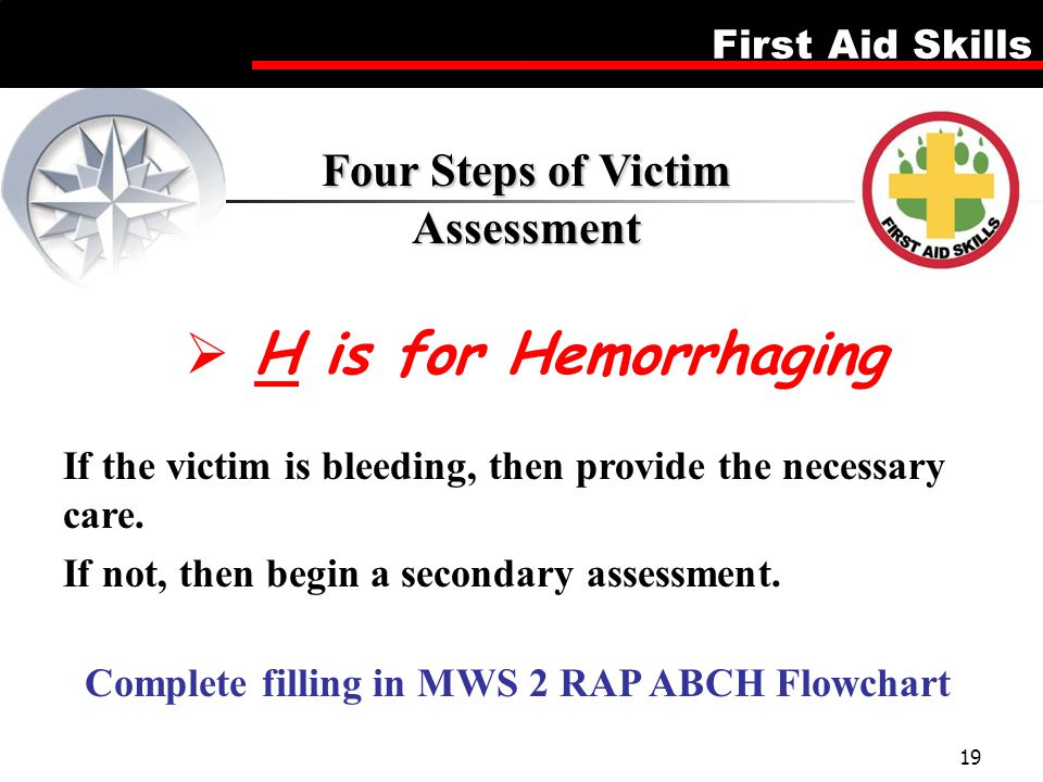 H is for Hemorrhaging Four Steps of Victim Assessment