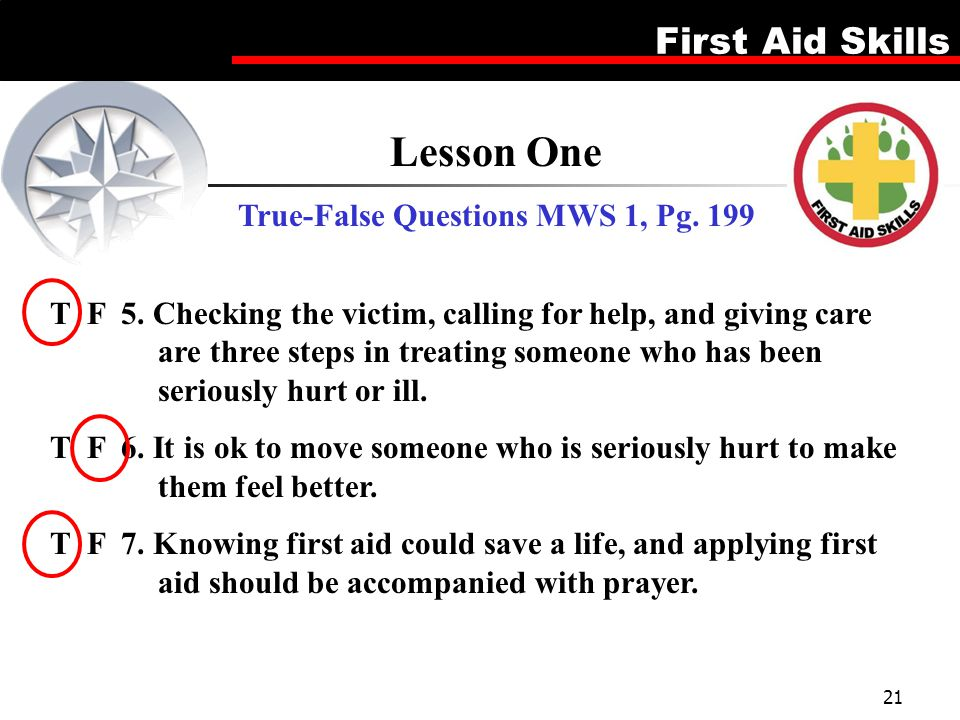 True-False Questions MWS 1, Pg. 199