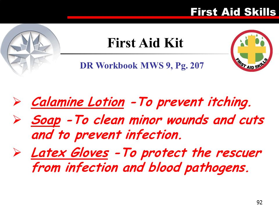 First Aid Kit Calamine Lotion -To prevent itching.