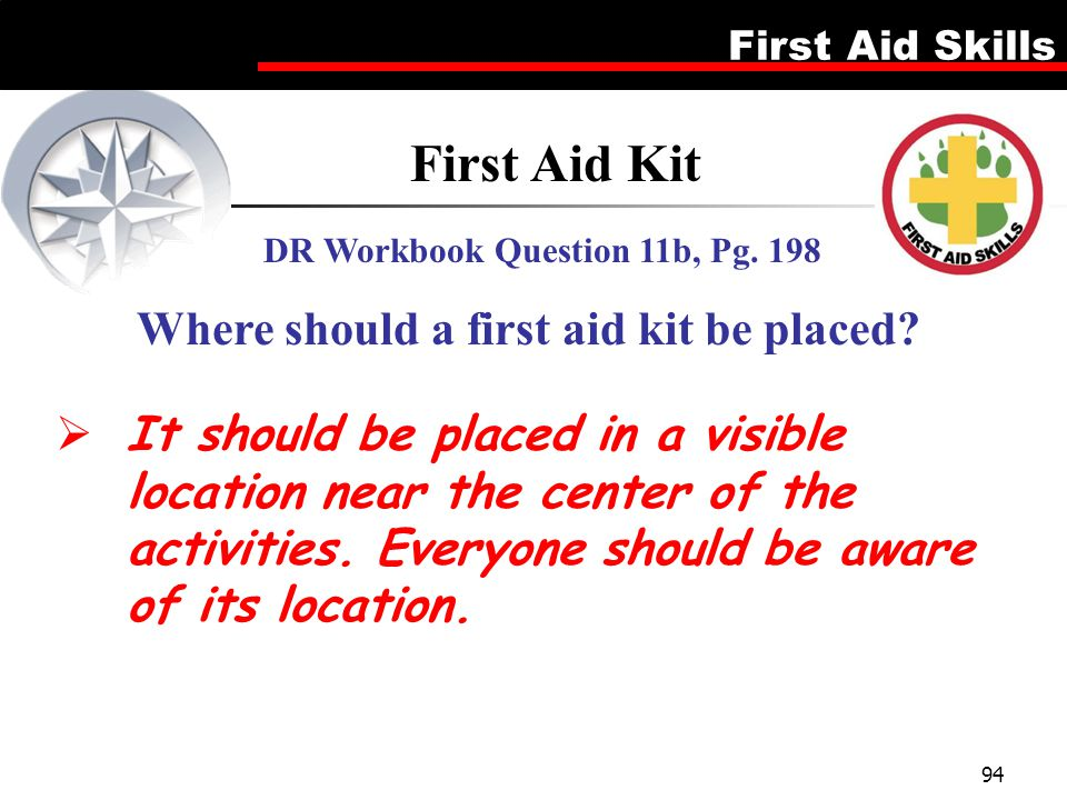 First Aid Kit Where should a first aid kit be placed