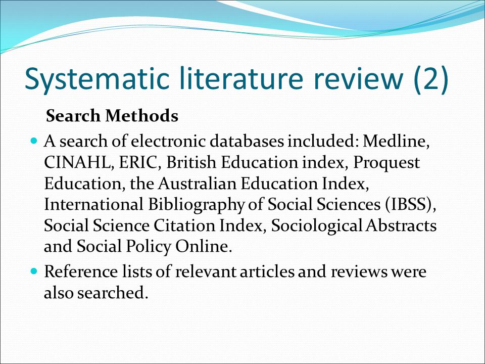 Systematic literature review (2)