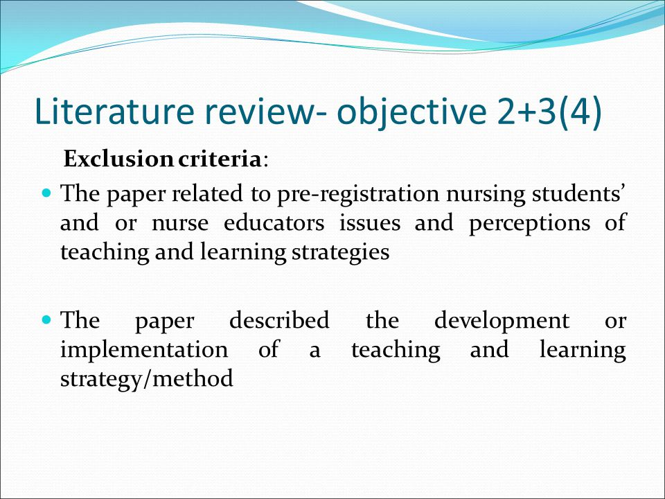 Literature review- objective 2+3(4)